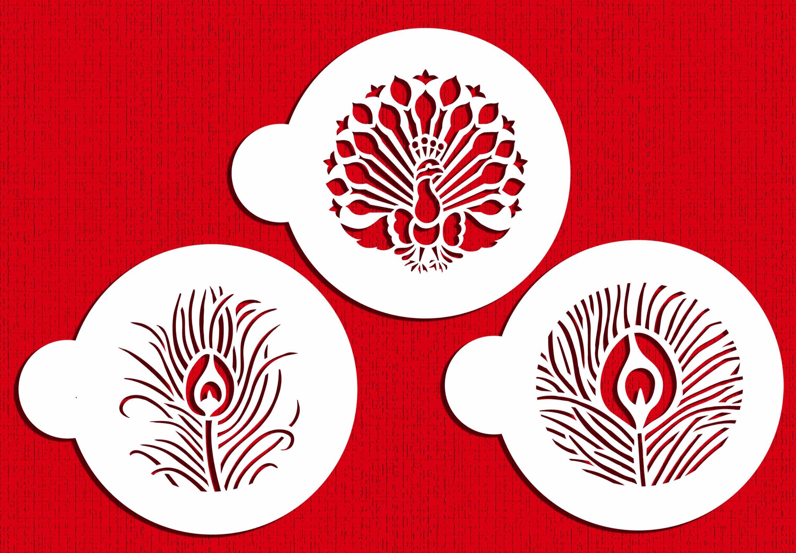 Designer Stencils C755 Peacock Cookie Stencil Set, Beige/Semi-Transparent by Designer Stencils
