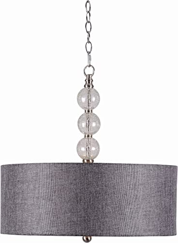 Kenroy Home 93313BS Maya 3-Light Pendant with Clear Crackle Glass Ball, Brushed Steel Finish
