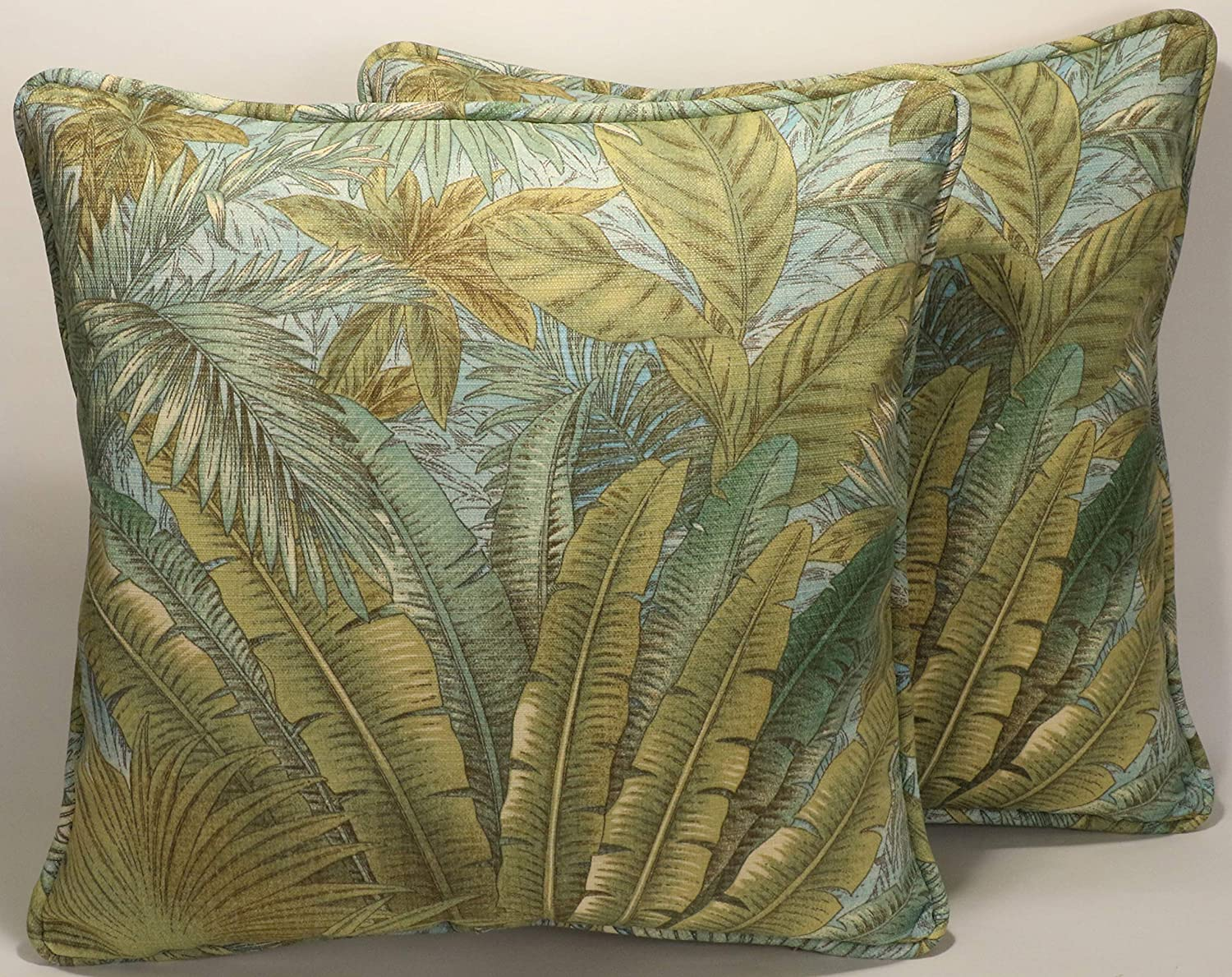 A set of 2 18 Tommy Bahama Bahamian Breeze Surf Outdoor Fabric Decorative Throw Pillows and Forms