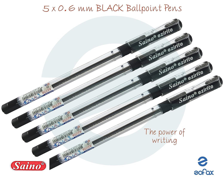 0.6mm Fine Tip SAINO Ezirite BLACK RED BLUE Ballpoint Pens For Smooth Writing