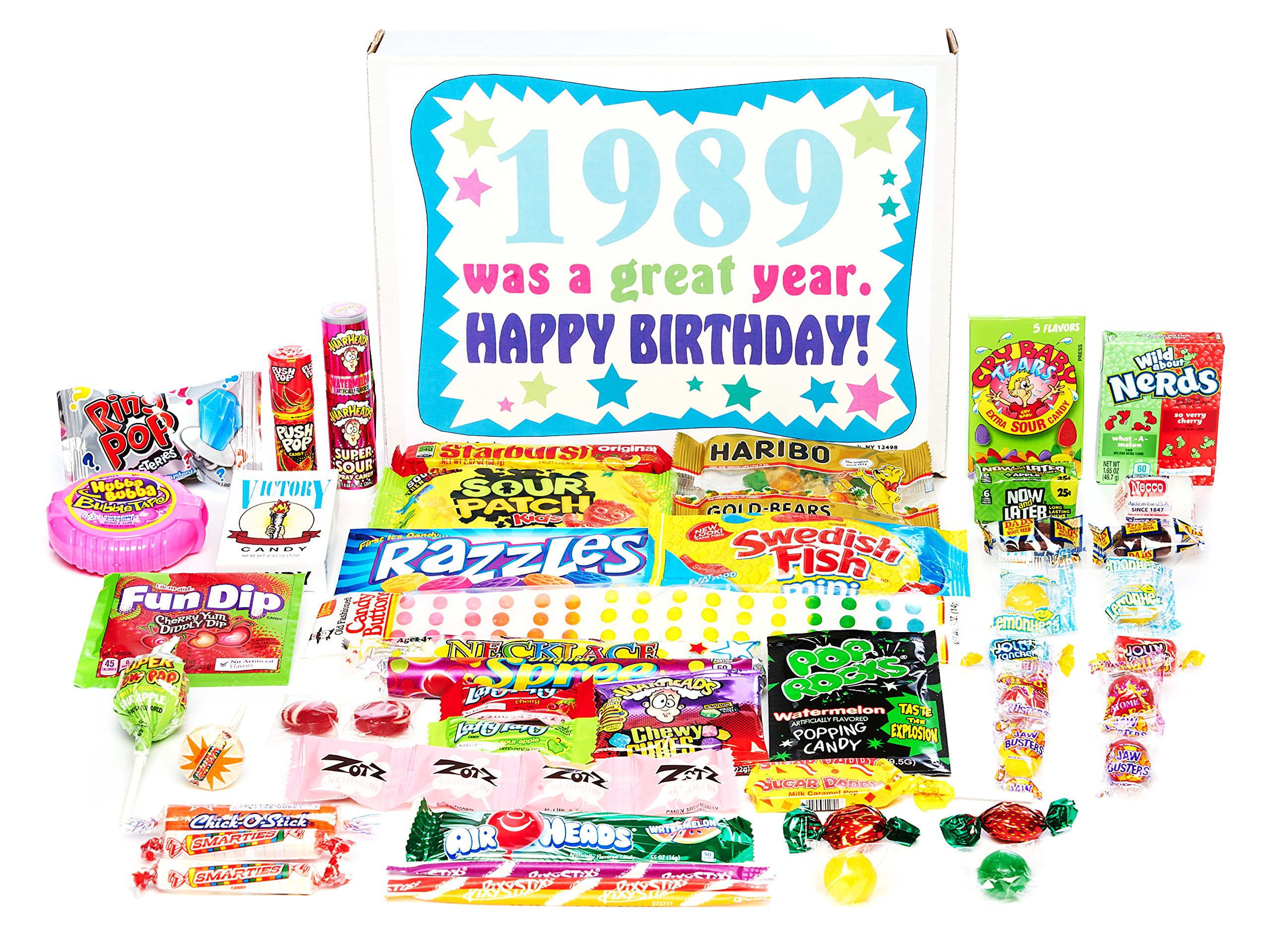 Woodstock Candy ~ 1989 30th Birthday Gift Box of Nostalgic Retro Candy Mix from Childhood for 30 Year Old Man or Woman Born 1989