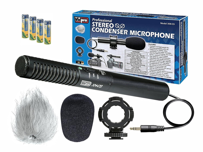 Sony CCD-TRV98 カムコーダー 外部マイク Vidpro XM-CS コンデンサー ステレオ XY マイクキット デジタル一眼レフカメラ、ビデオカメラ、オーディオレコーダー用 - 単3ニッケル水素充電式バッテリー4個パック - 2800mAh。   B072DV7NSF