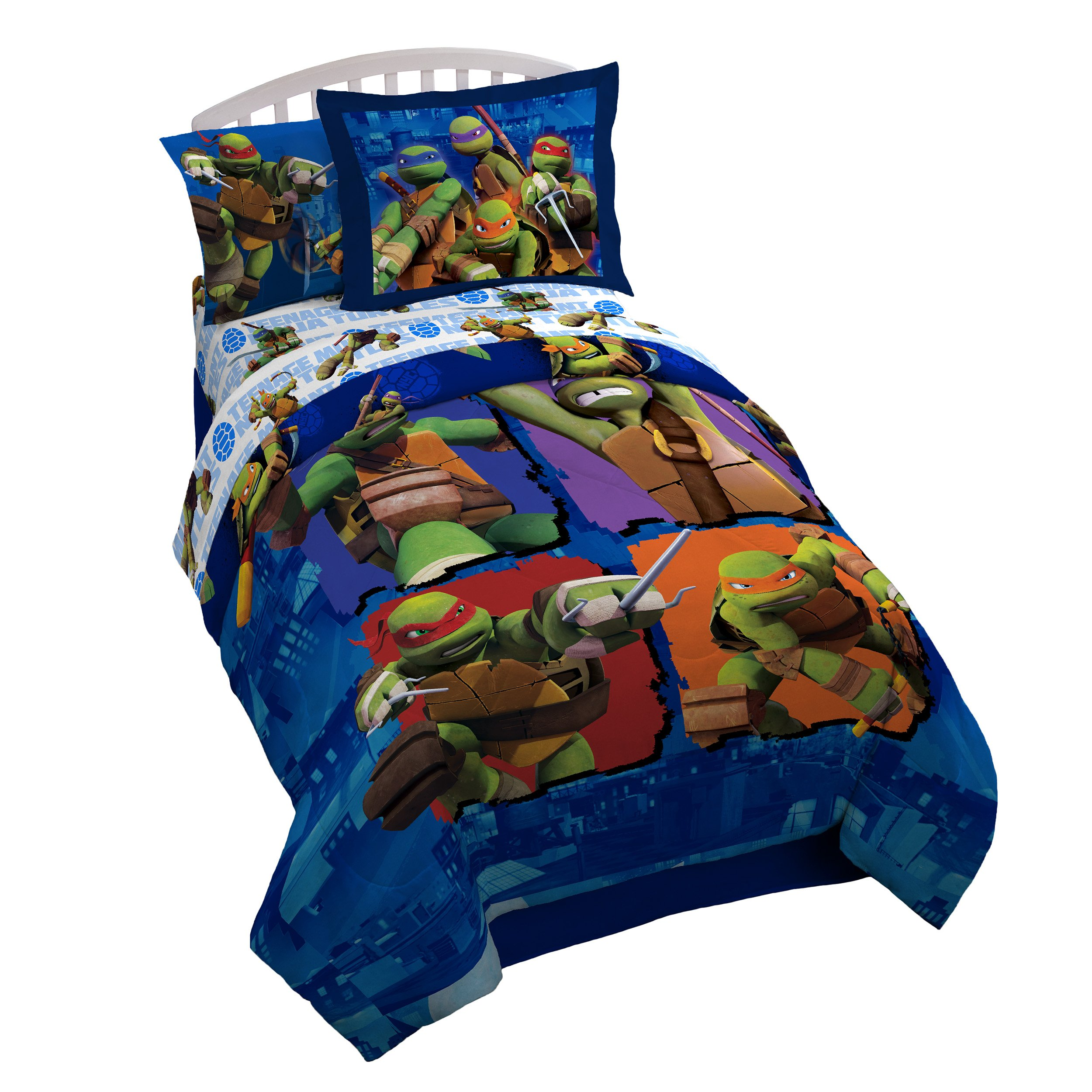 Nickelodeon Teenage Mutant Ninja Turtles City Limits Twin Comforter - Super Soft Kids Reversible Bedding features the Turtles - Fade Resistant, Includes 1 Bonus Sham (Official Nickelodeon Product)