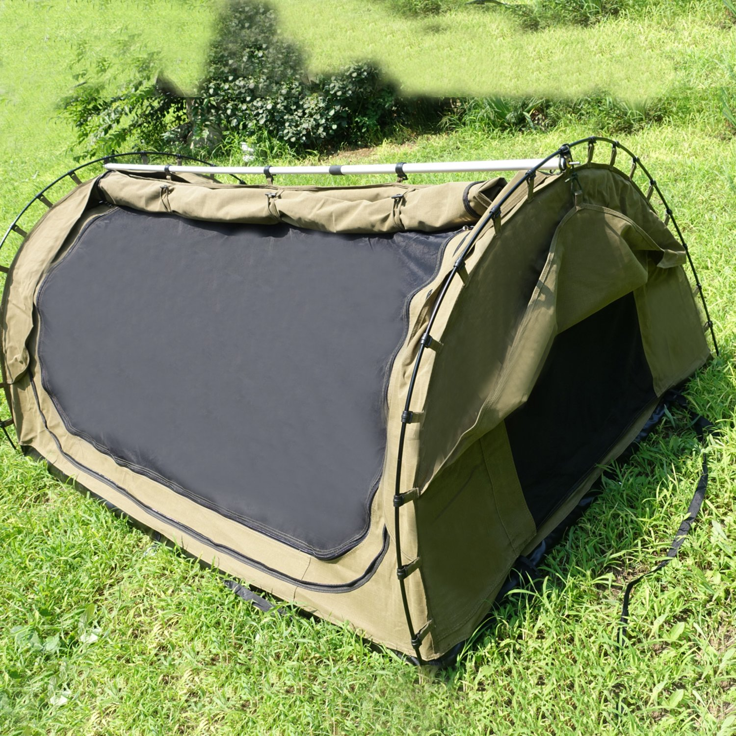 SUNOOM Double Canvas Swag Tent with Fire-Retardant Waterproof and Heat Preservation Fabric Material + Sleeping Pad / Mattress + Carry Bag (2 Person) by SUNOOM (Image #3)