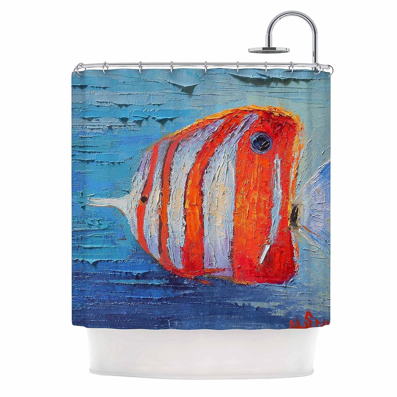 69 x 70 Shower Curtain Kess InHouse Carol Schiff Coral Reef Fish 1 Blue Orange Painting