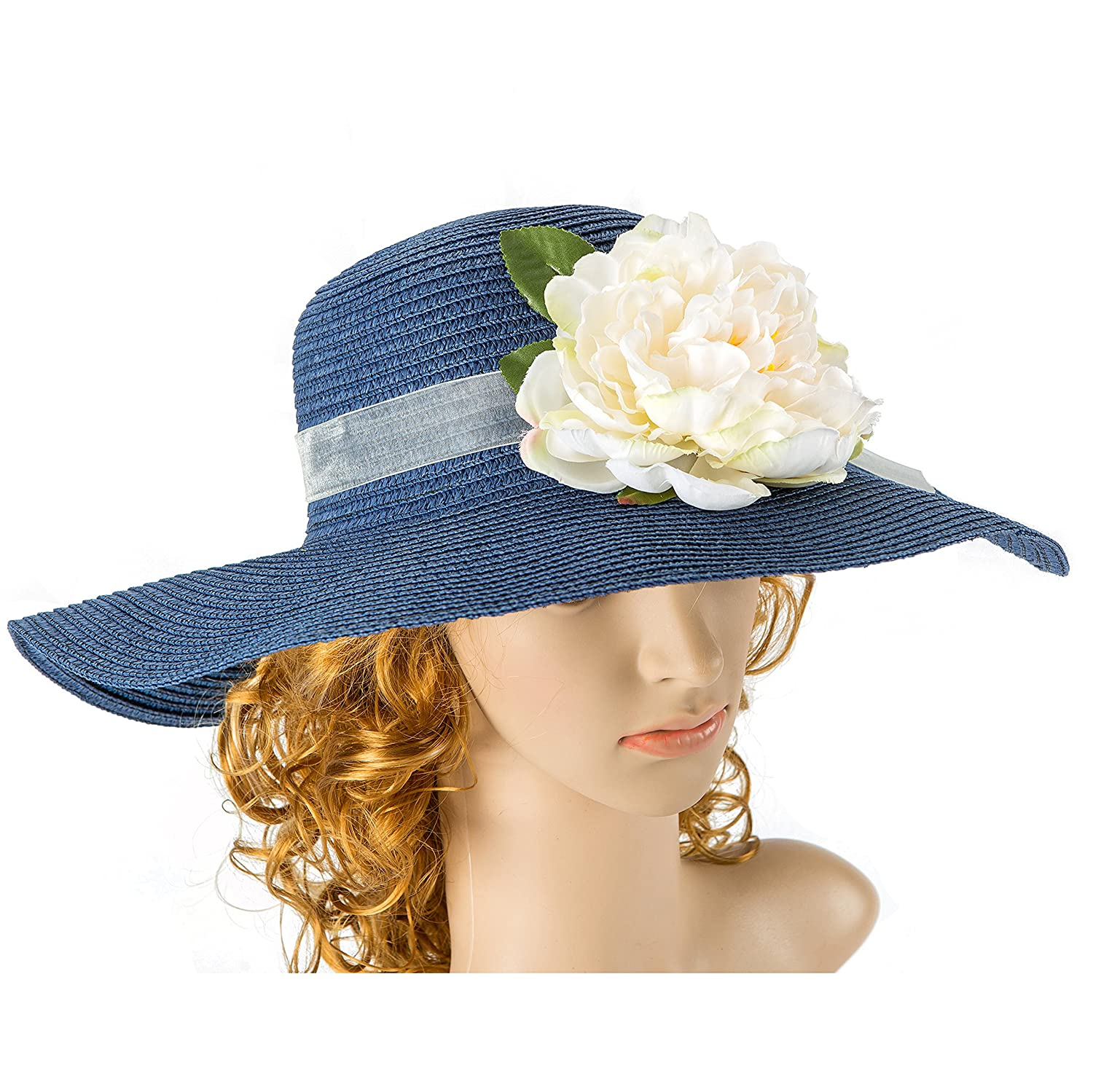 Tropic Beauty - Floppy Hat with Big white Peony Flower Jean Blue Bow Kentucky Derby Race Church Wedding Beach Garden Party
