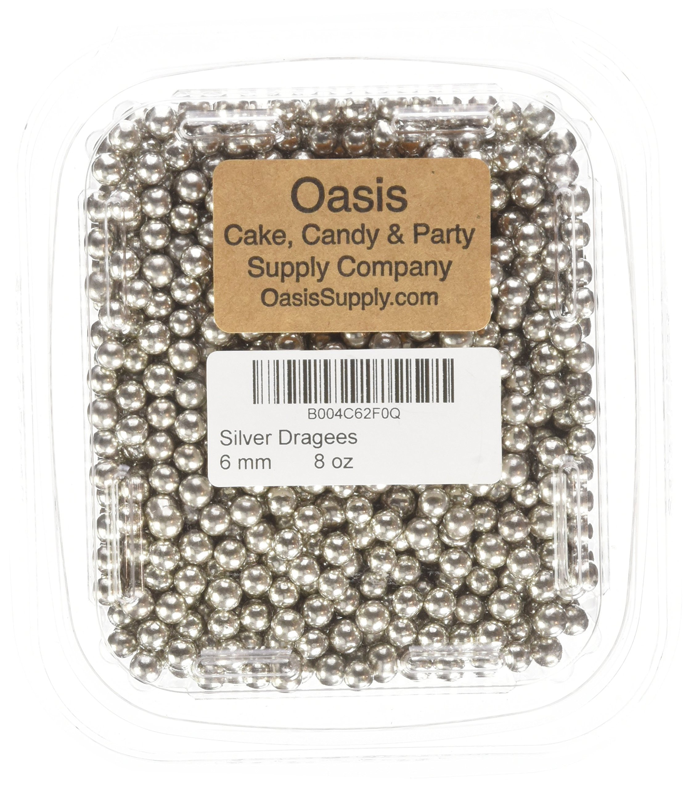 Dragées Pécou Dragees 8-Ounce Sugar Cake Cupcake Cookie Sprinkles, 6mm, Silver by Drages Pcou