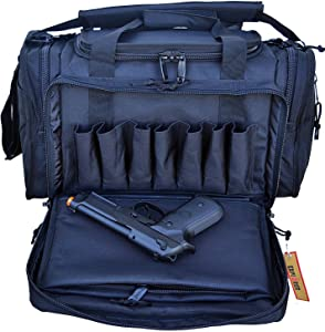 Explorer Large Padded Deluxe Tactical Range Bag - Rangemaster Gear Bag (Black)