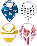 "Baby Bandana Drool Bibs for Drooling and Teething 4 Pack Gift Set For Boys and Girls ""Indie Set"" by Copper Pearl"