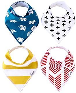Baby Bandana Drool Bibs Indie 4 Pack of Unisex Modern Cotton Bibs Baby Gift Set By Copper Pearl