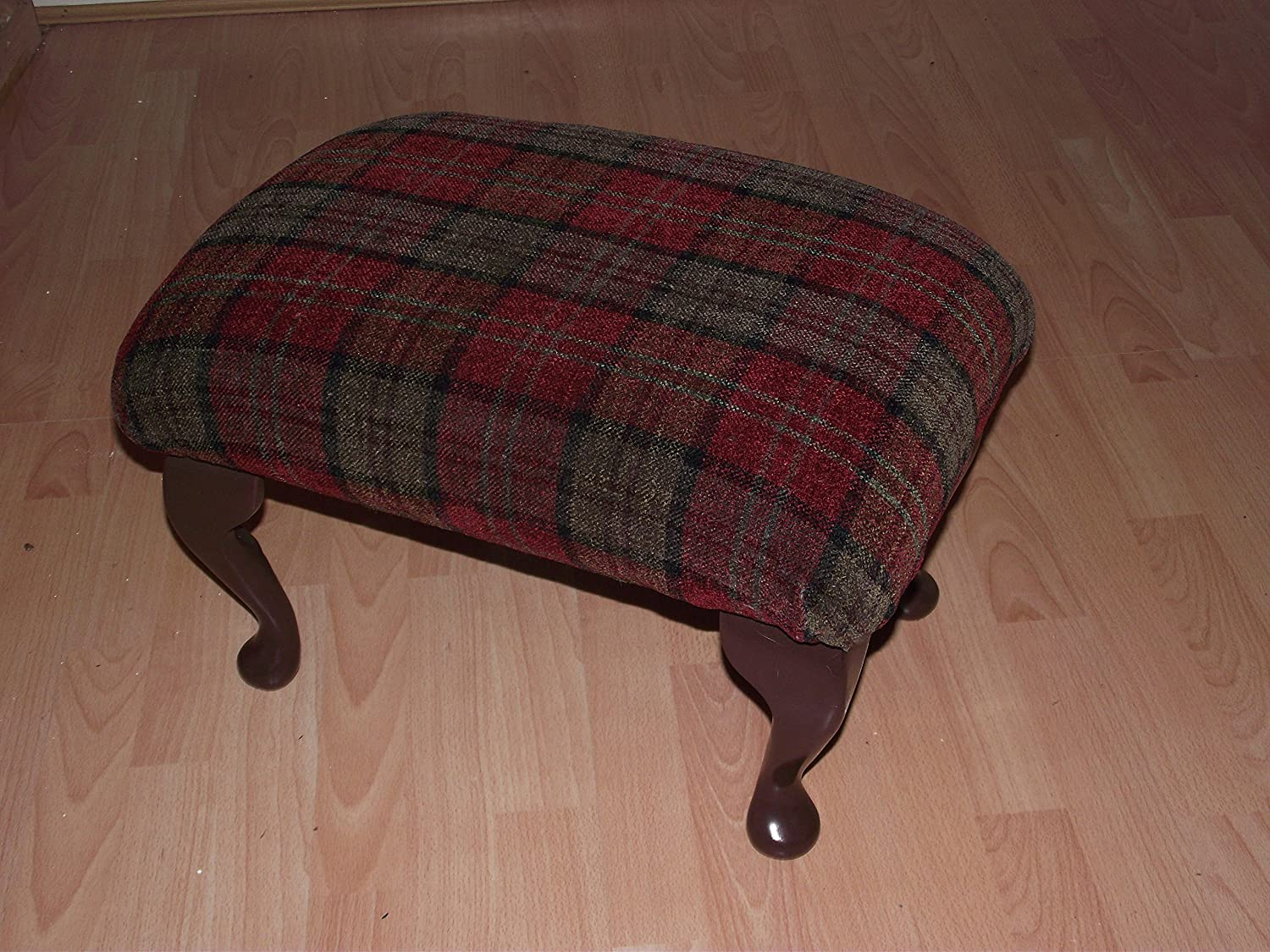 Luxury footstool in traditional red tartan fabric  Queen anne style legs  and thick upholstered foam top pouffe
