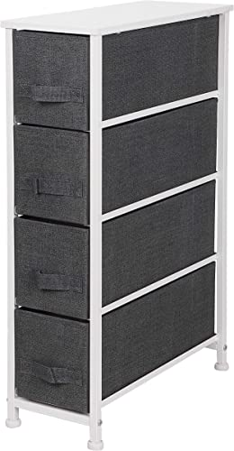ZENY Narrow Vertical Dresser Storage Tower with 4 Drawers – Sturdy Metal Frame, Wood Top, Easy Pull Fabric Bins – Organizer Unit for Bedroom, Hallway, Entryway, Closet