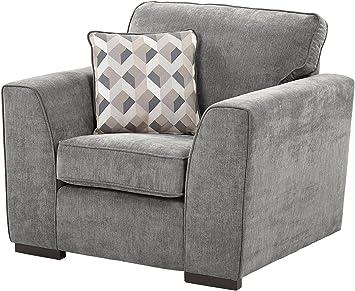 tesco new boston fabric armchair dark grey amazon co uk kitchen