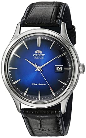 f31de7235 Orient Men's Bambino Version 4 Stainless Steel Japanese-Automatic Watch  with Leather Calfskin Strap,