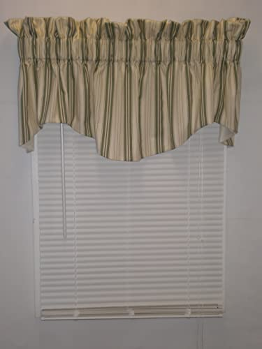 Cambridge Cutain Kimberly Stripe Collection Sage, 70Wx17L Lined Windsor Valance