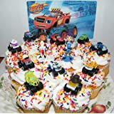 Nickelodeon Blaze and the Monster Machines Deluxe Mini Cake Toppers Cupcake Decorations Set of 13 Figures with Blaze, JR, Gabby, 9 other Monster Machines and More!