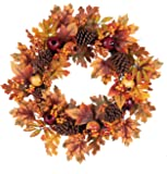 Autumn Burnt Orange Leaves and Pinecones 24 x 24 Harvest Hanging Wreath Decoration