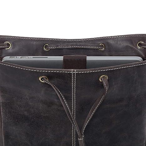 bf8de496e1a71 SID   VAIN Rucksack Leder SAM groß Backpack Tagesrucksack Stadtrucksack  Unisex Lederrucksack mit gepolstertem Gerätefach bis 15
