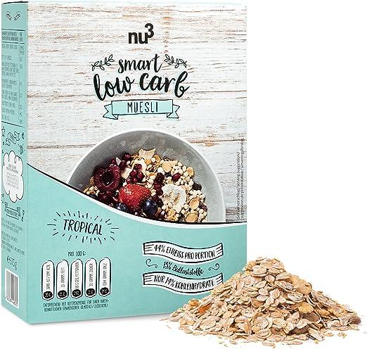 nu3 Muesli Low Carb sabor tropical - 575 g de mezcla de avena y cereales - Desayuno vegano nutritivo bajo en carbohidratos - 13 g de fibra y 44 g de ...