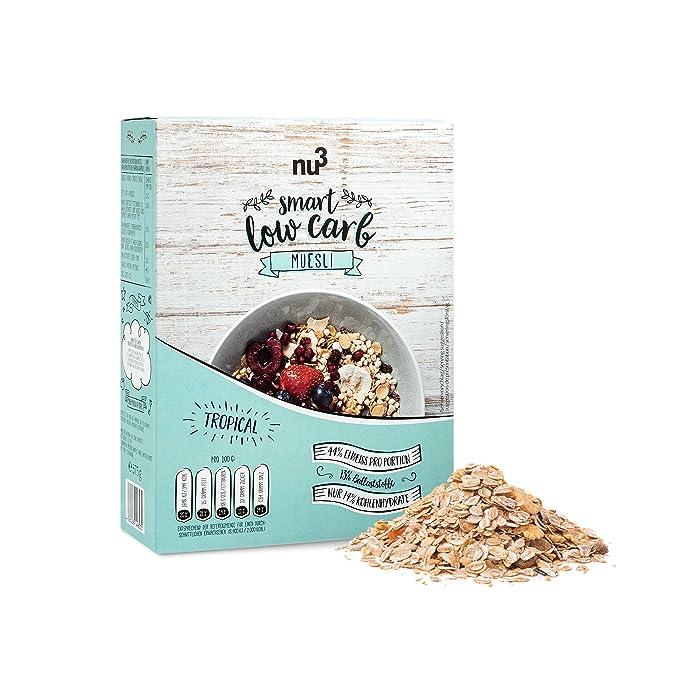nu3 Muesli Low Carb sabor tropical | 575g de mezcla de avena y cereales | Desayuno