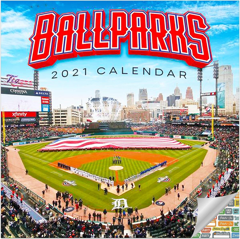 Ballparks Calendar 2021 Bundle - Deluxe 2021 Major League Baseball Parks Wall Calendar with Over 100 Calendar Stickers (MLB Gifts, Office Supplies)