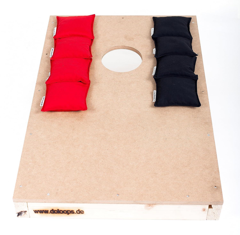 Original Cornhole Spielset - ein Cornhole Board und 8 Cornhole Bags (je 4 rote und 4 schwarze Cornhole Bags), original deutscher Cornhole Verband Turnierausstattung