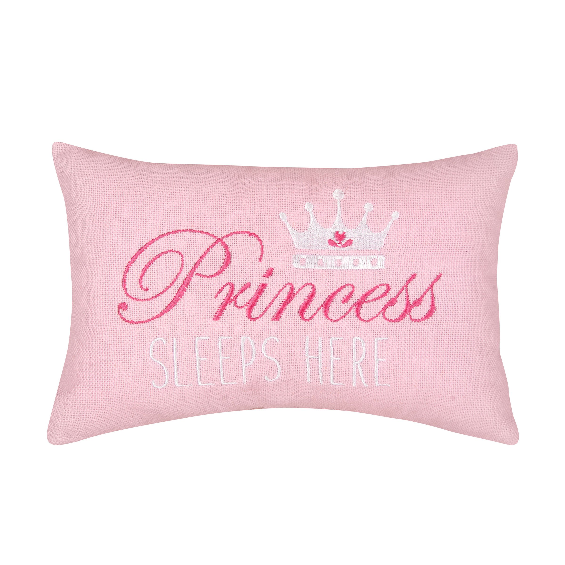 C&F Home Princess Sleeps Here Pink Graphic Embroidered Novelty Pillow 6''x9'' - Small