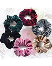 Hair Ties, Velvet Scrunchies for Hair - Stylish Ponytail Holder - Includes 6 Pastel Colors - Ideal Hair Bands for Women & Girls - Suitable Accessories for Thin or Thick Hair with Strong Elastic