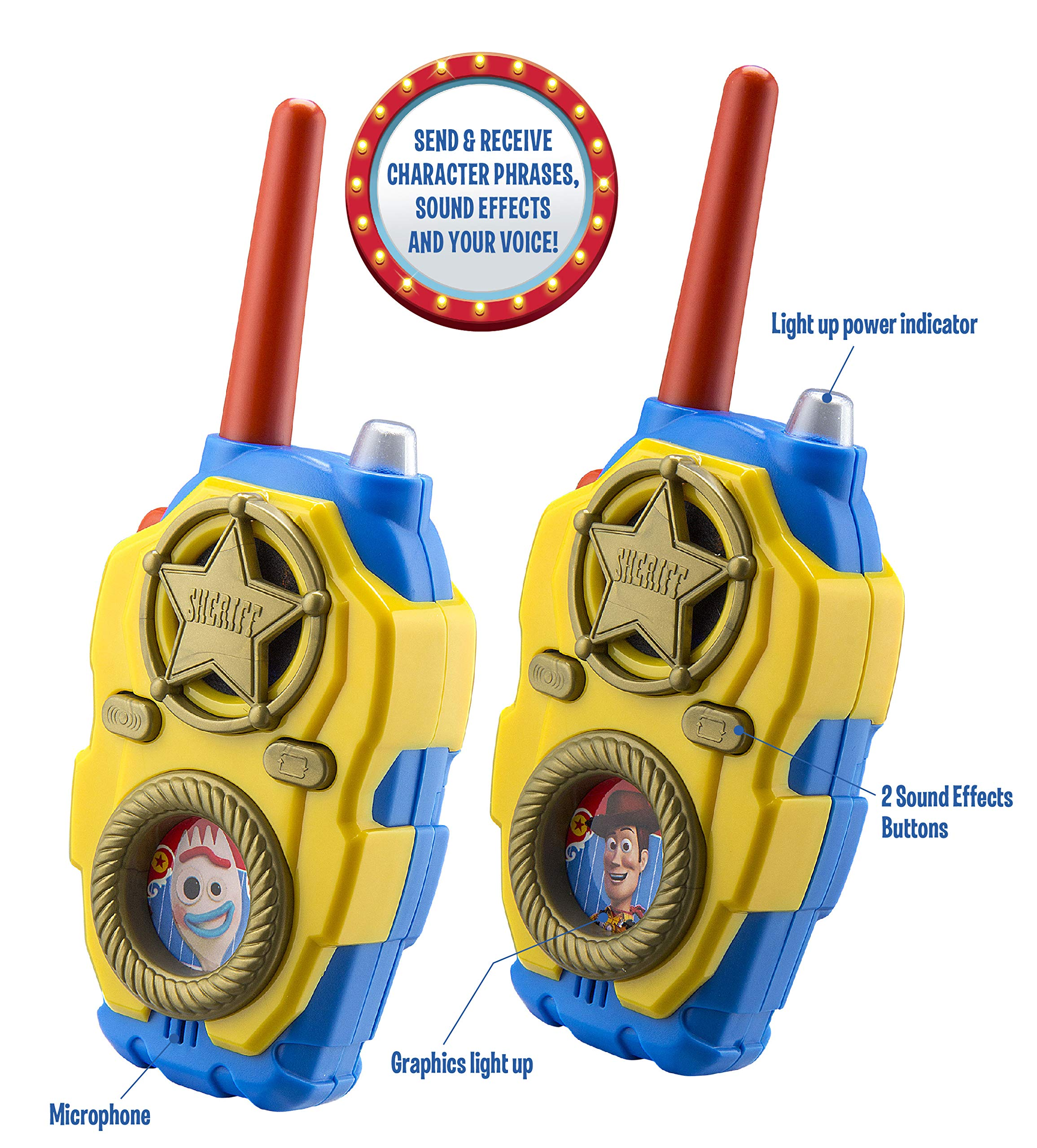 eKids Toy Story 4 FRS Walkie Talkies with Lights and Sounds Kid Friendly Easy to Use by eKids (Image #2)
