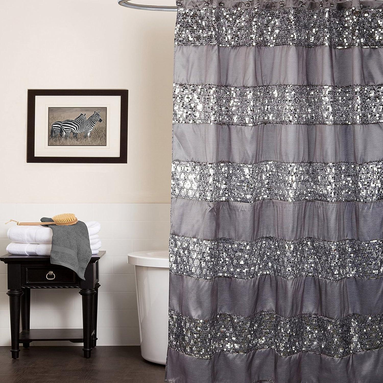 Sweet Home Collection Popular Bath Collection Bathroom Shower Curtain 0 Sinatra Silver SINATRA-SC