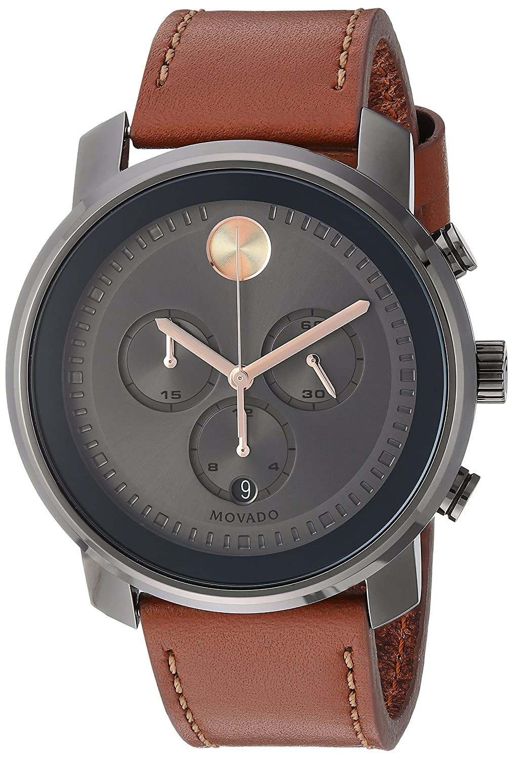 b9009861b Amazon.com: Movado Men's Stainless Steel Swiss-Quartz Watch with Leather  Strap, Brown, 22 (Model: 3600421): Watches
