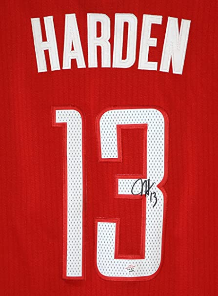 08e37bf91 James Harden Houston Rockets Signed Autographed Red  13 Jersey PAAS ...