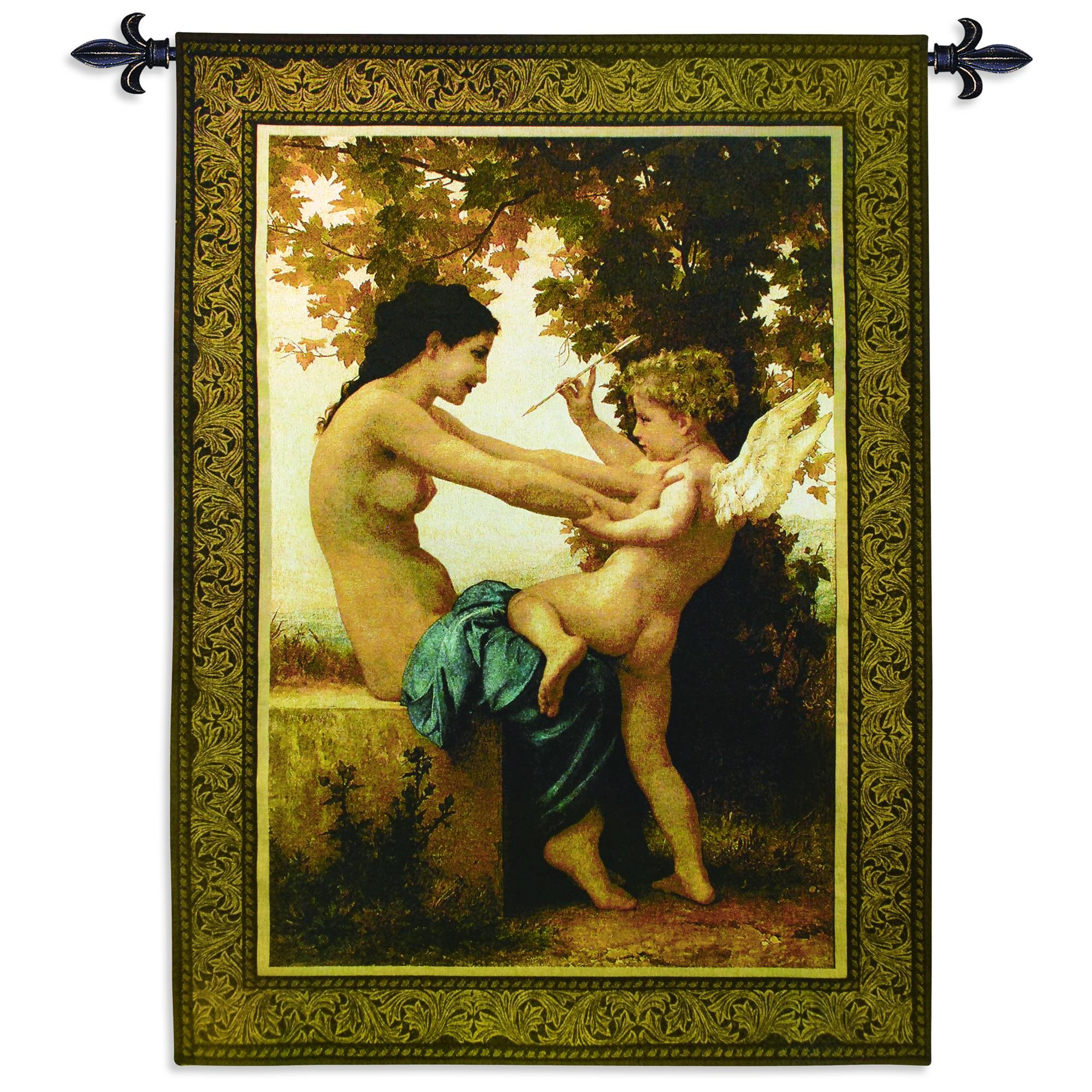 Fine Art Tapestries ''Young Girl Defending Herself Against Eros'' Wall Tapestry