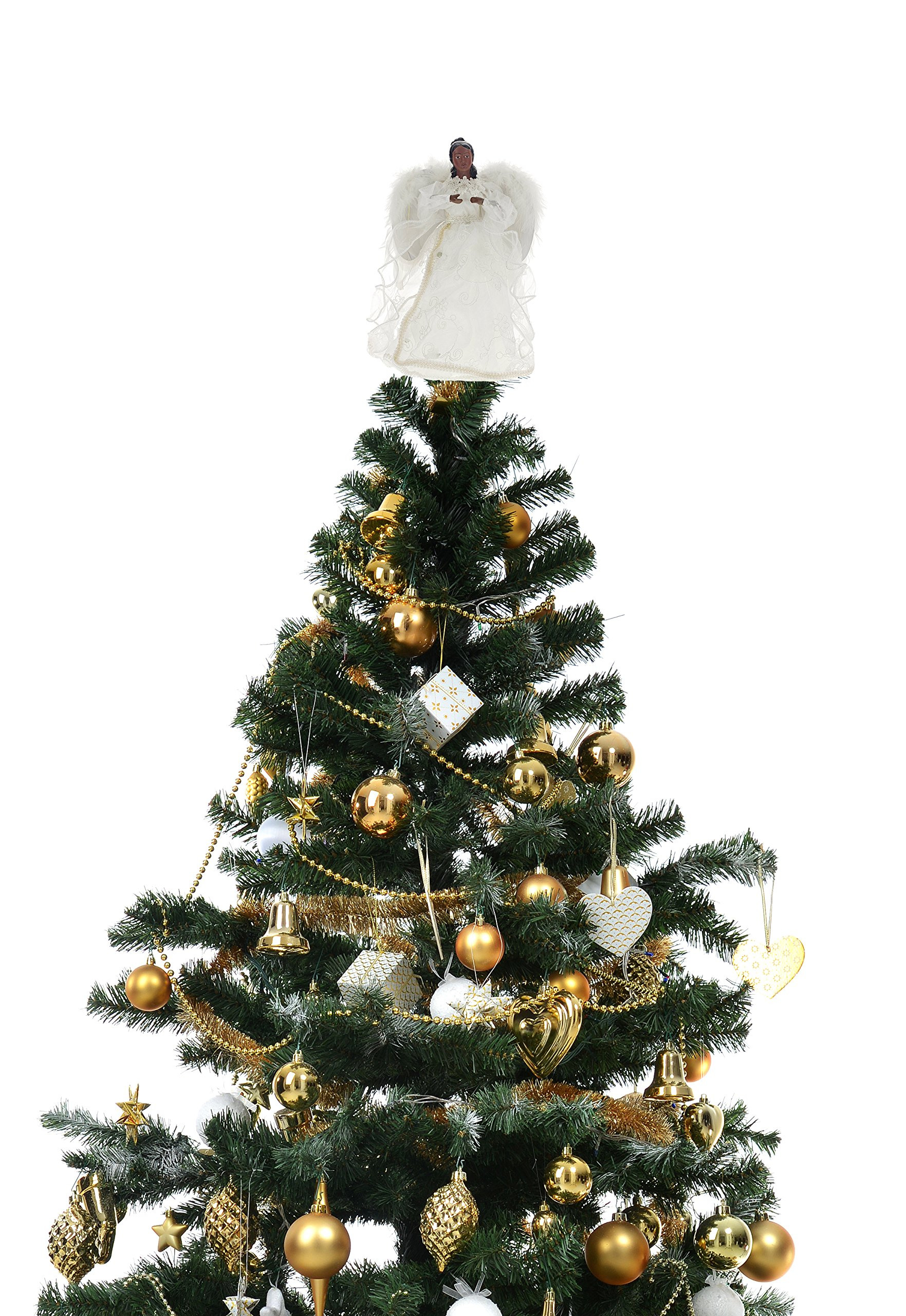 Seasons Designs 12'' White-Robed African American Angel Tree Topper