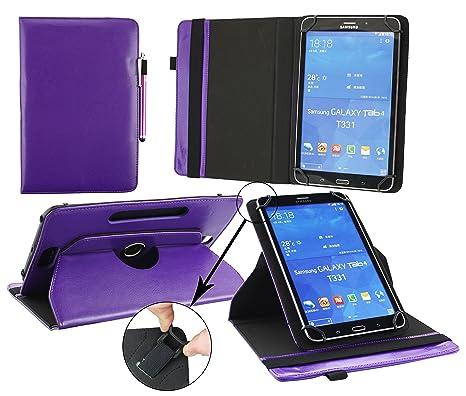 Emartbuy® Bq Edison 3 Mini 8 Pulgada Tablet Universal (7-8 Pulgada) Púrpura Premium Cuero PU 360 Grados Soporte Giratorio Folio Carcasa Wallet Case + ...