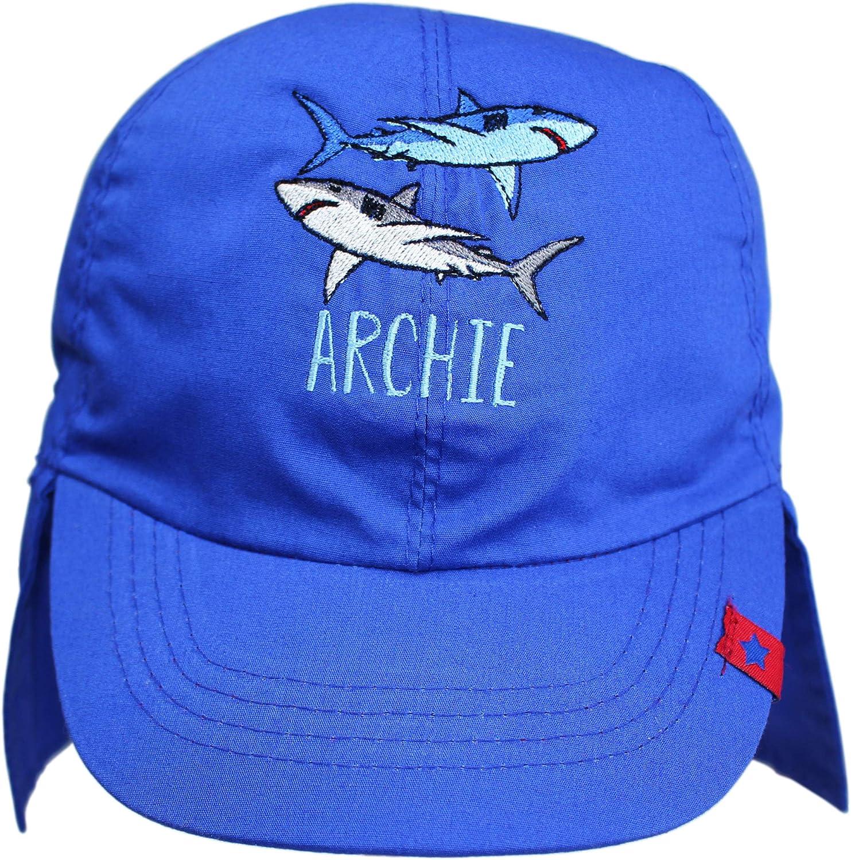 TeddyTs Personalised Blue Sharks Legionnaire Sun Hat