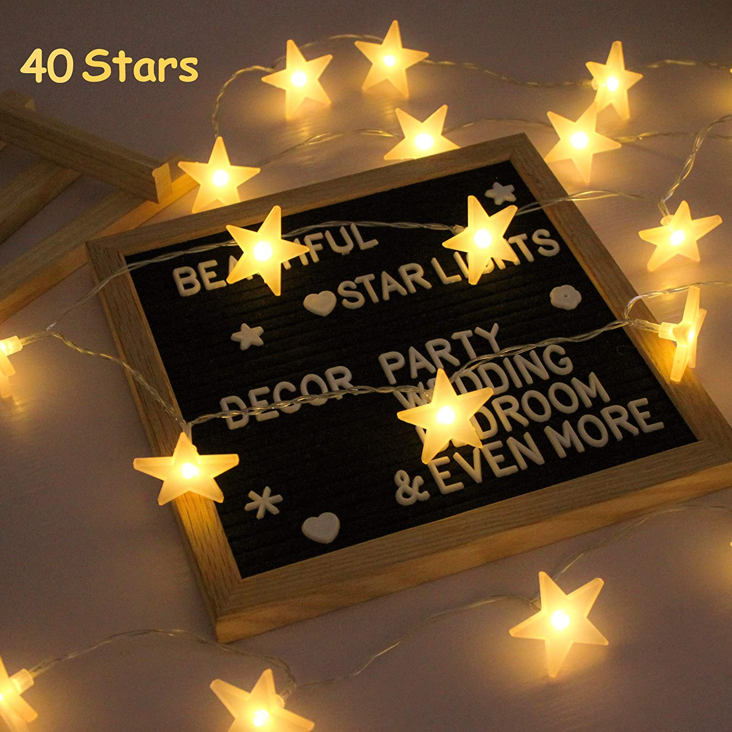 Star String Lights, Battery Powered, 40 Warm White Twinkle Stars, Indoor  and Outdoor Decoration for Kids Room, Bedroom, Wall, Teepee Tent, Wedding,  ...