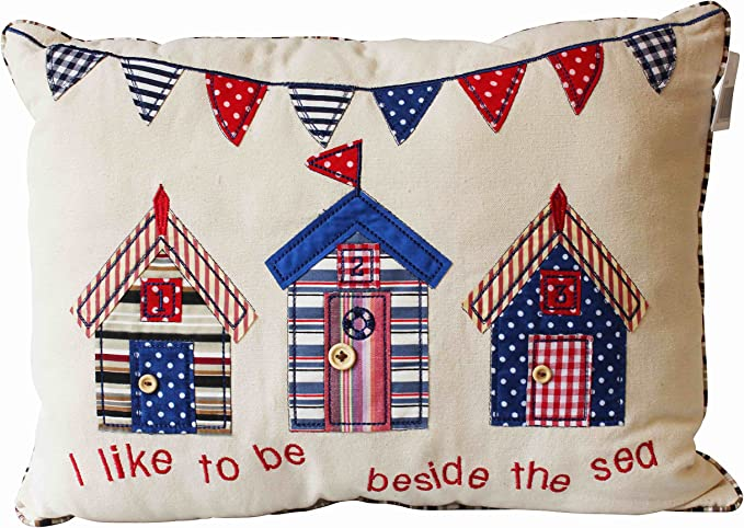 Quay Traders I Like To Be Beside The Sea Cushion Pillow Festive Colors Beach Huts 30x40cm Home Kitchen