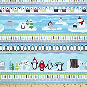 Kanvas Snow Place Like Home Snow Friends Stripe Multi Fabric by The Yard