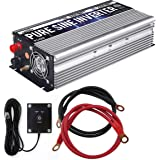 GoWISE Power 1000W Pure Sine Wave Inverter 12V DC to 120V AC with 2 AC Outlets + 1 5V USB Port, 2 Battery Cables, and Remote