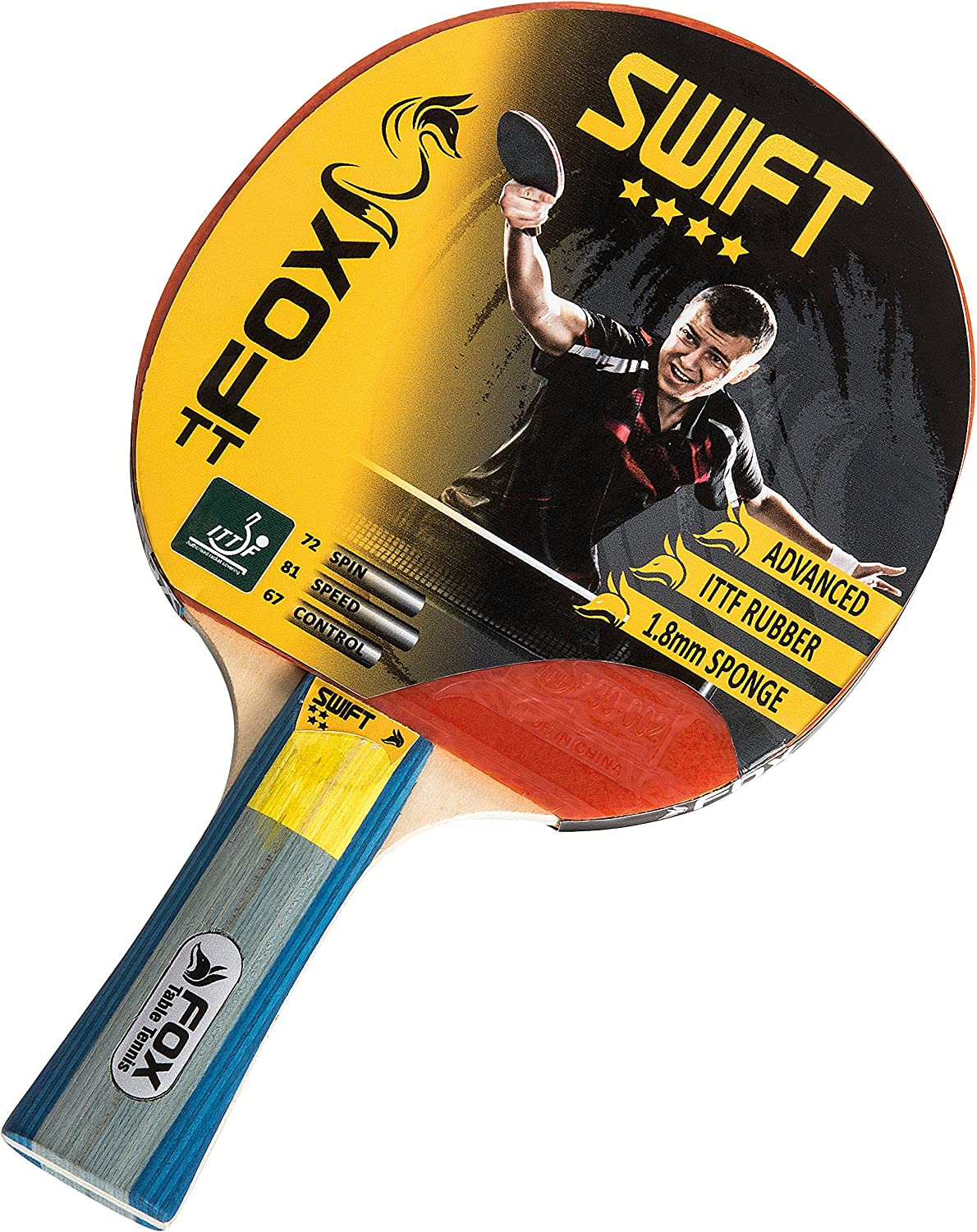 Fox TT Unisex Swift 4 Star – Raqueta de Tenis de Mesa, Color Rojo