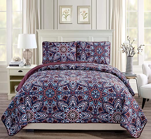 Fancy Linen Oversize Reversible Bedspread Floral Navy Blue Black All Sizes New