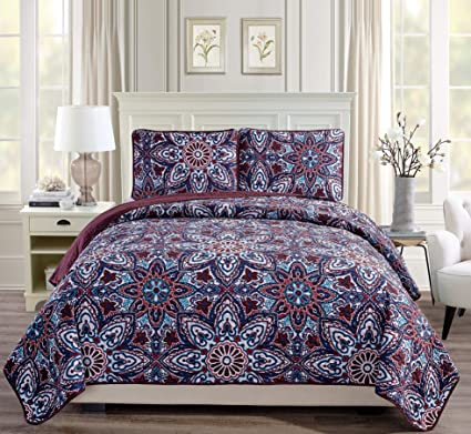 California King Quilts And Bedspreads.Fancy Linen 3pc King California King Bedspread Quilt Set Over Size Bed Cover With Flowers Burgundy Navy Blue Teal Red White New