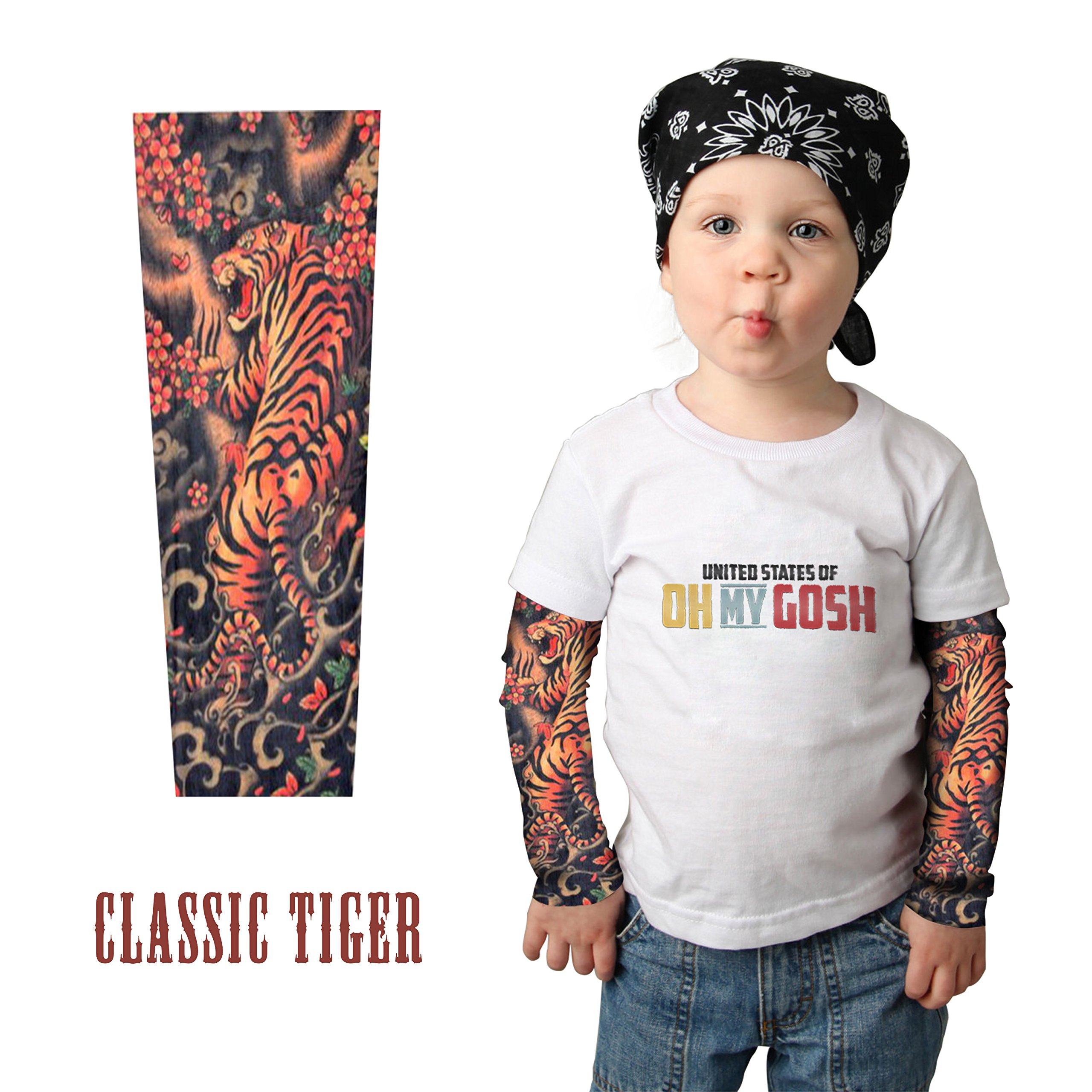 Childrens' Tattoo Sleeves (x2) - Coolest Neoprene Tattoo Sleeves for Sun Protection and Being Tough (Classic Tiger) by United States of Oh My Gosh (Image #2)