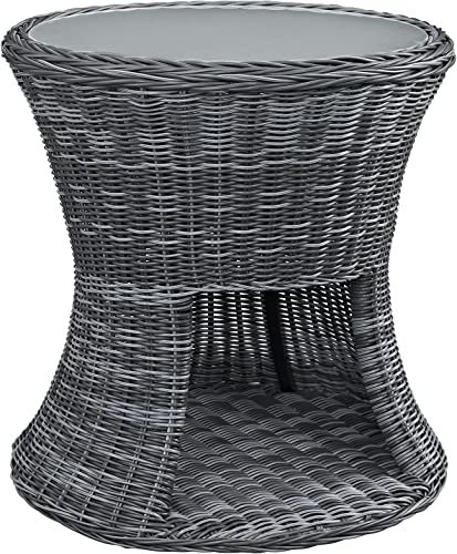 Modway Summon Wicker Rattan Glass Outdoor Patio Round Side End Table