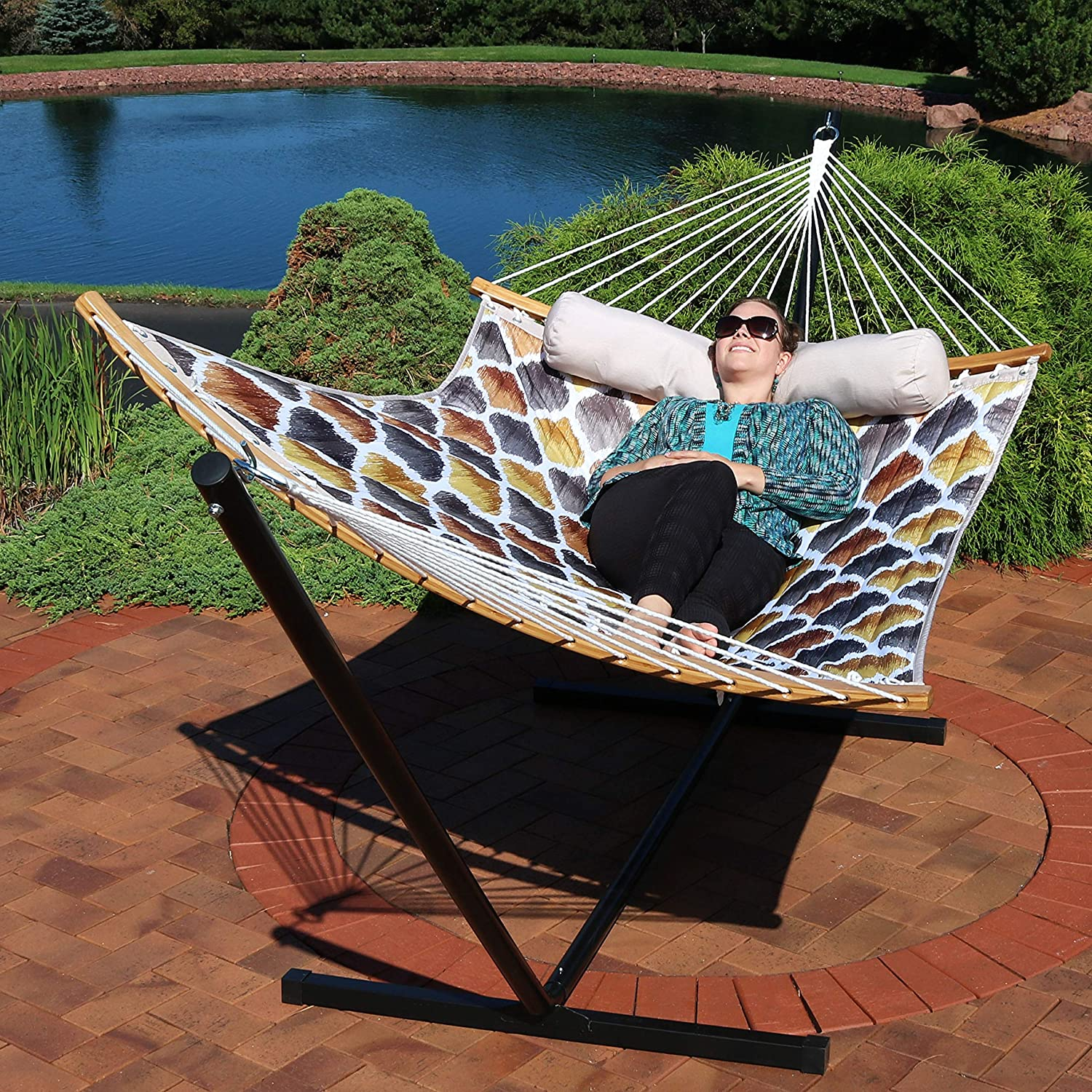 Sunnydaze Quilted 2 Person Hammock With Curved Bamboo Spreader Bars, Heavy Duty