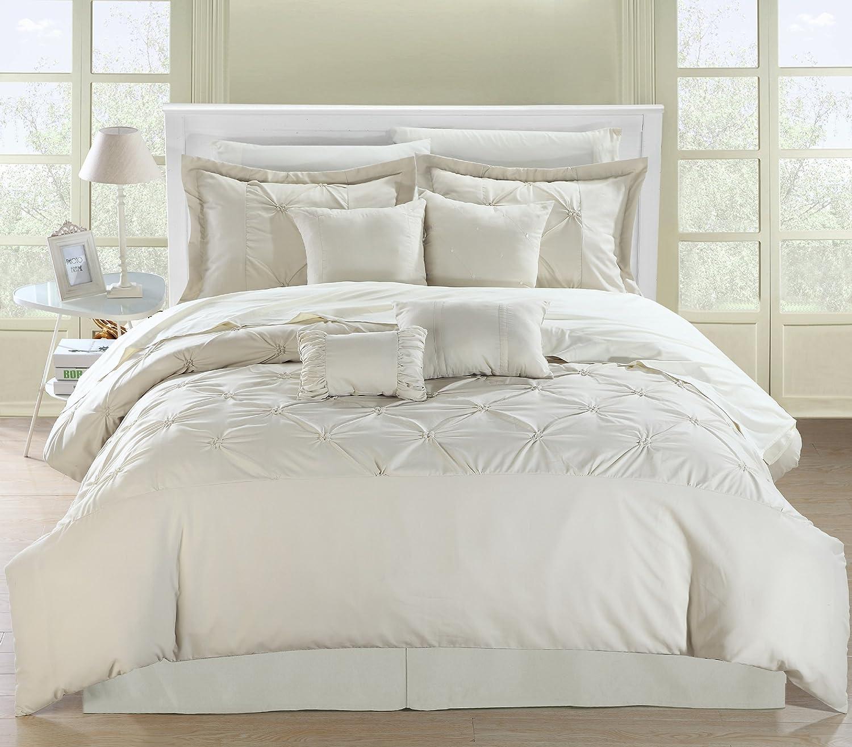 Chic Home Vermont 8-Piece Comforter Set, Queen, Beige