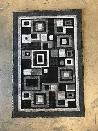 Americana Modern Door Mat Contemporary Geometric Area Rug Grey Gray Black Design 125 2 Feet X 3 Feet