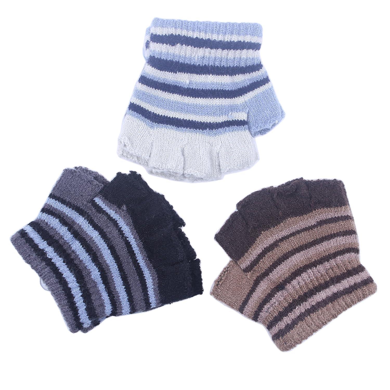 2/3Pairs Baby Toddler Kids Boy Girl Wool Winter Fall Spring Magic Fingerless Gloves KM0034023-3