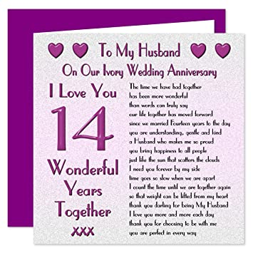 My Husband 14th Wedding Anniversary Card On Our Ivory Anniversary